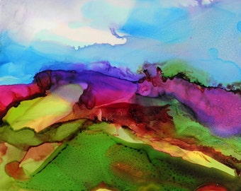 Abstract landscape ink painting original 5x7 on yupo alcohol ink art # 166