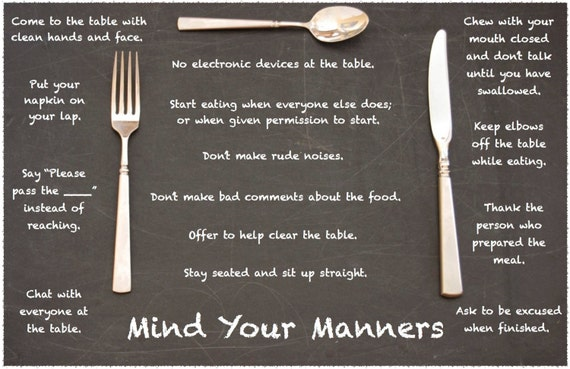Mind Your Manners Table Manners Fork Amp Knife Placemat