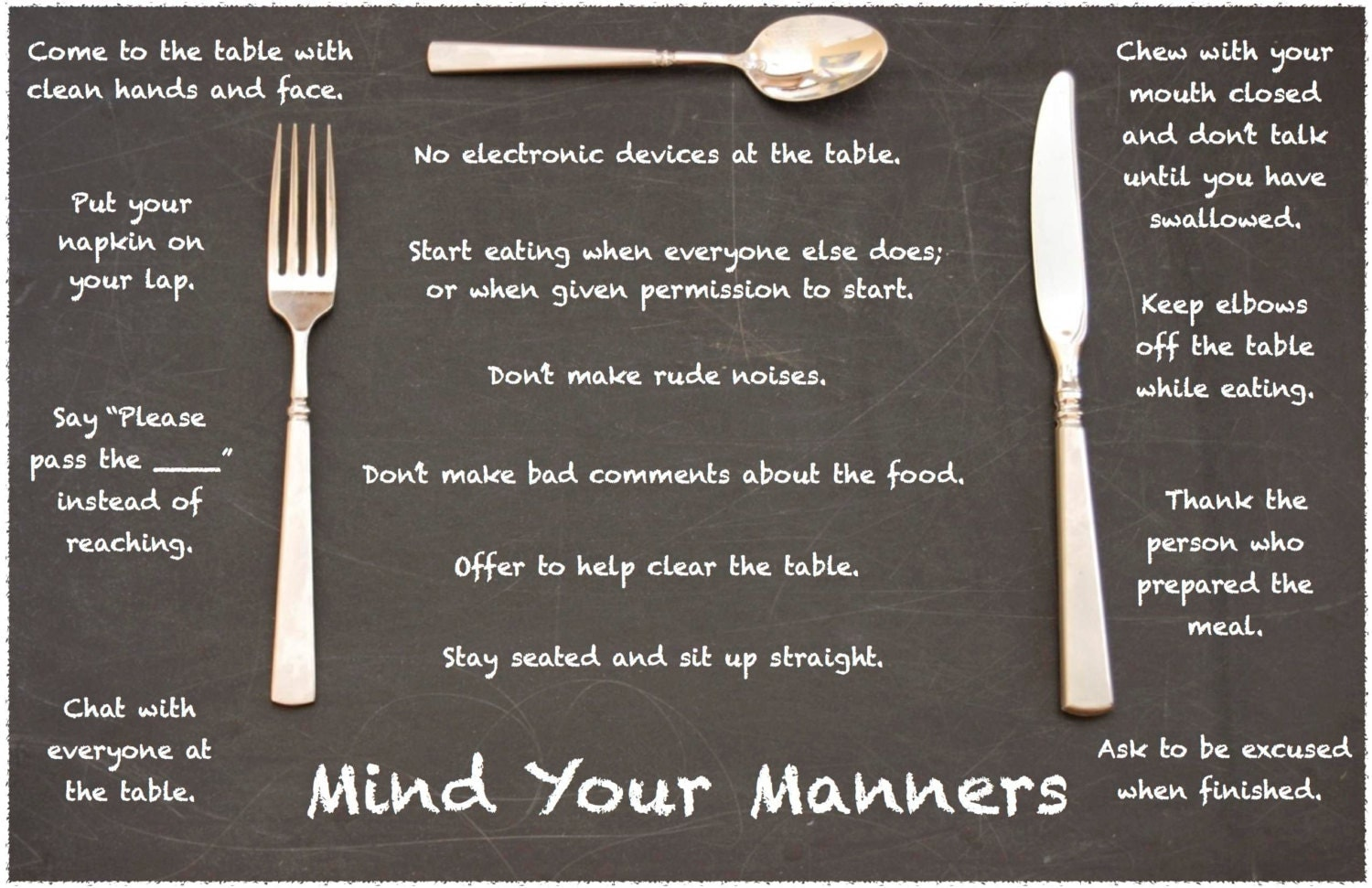 Mind your manners table manners fork knife placemat for Table etiquette