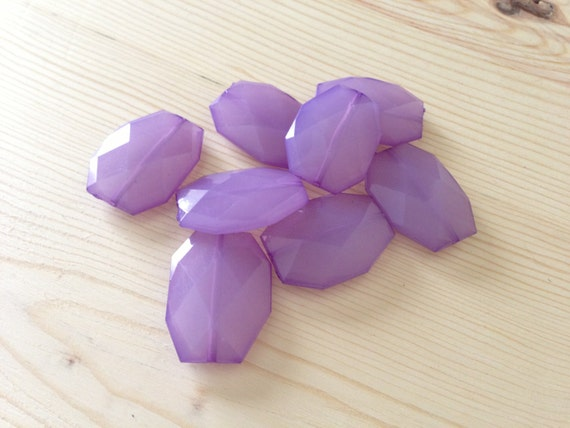 LAVENDER Purple- 34x24mm Large Translucent Faceted Acrylic Flat Nugget Beads - 10 pcs