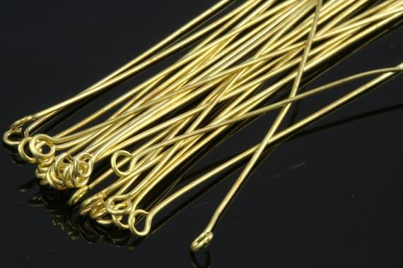 Brass eye pin 100 pcs 45 mm 23 gauge( 0,6 mm ) raw brass (varnish) eyepin EV4523-12