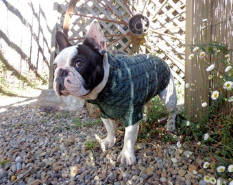 The Roger - Cable Knit Wool Dog Sweater - Hand Made Dog Jumper - Vintage Cardigan - Green