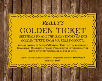 Download Golden Ticket PDF Invitation - Bought Once, Print as Many as You Need