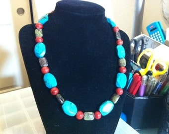 Multicolored gemstone necklace with matching earrings