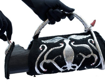 Silver Snake, Handmade Leather handbag