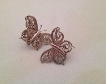 Vintage Silver Filigree Butterfly 50s Delightful Earrings