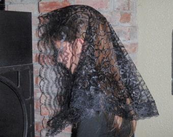Black Lace Mantilla, Prayer Veil, Traditional Ladies Chapel Veil, Catholic Holy Mass