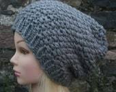 Hand Knit Hat- Womens Hat -Slouchy -Beanie hat in dark grey- chunky knit winter hat- Womens Accessories