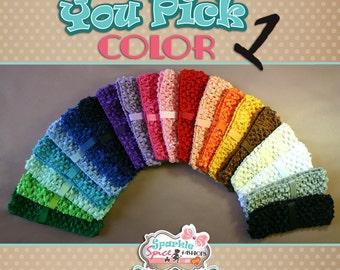 Crochet Headband with Clip Loop, Waffle Crochet Elastic Headband, Interchangeable Headband, Pick Color, Lots of Colors, Clip Pocket