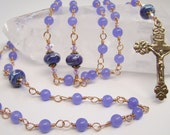 Heirloom Angels Rosary Genuine Lavender Jade Solid Bronze Wire Wrapped OOAK