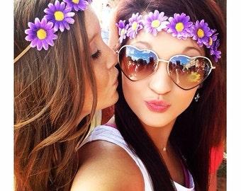 Purple Daisy Flower Crown, Boho Flower Crown, Sorority Flower Crown, Hippie Headband, Game Day Flower Crown, Festival Wear
