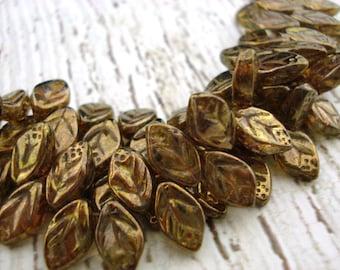 Luster Transparent Gold Smoky Topaz Leaves Czech Glass Leaf Beads Qty 25 12 X 7 mm Smokey Topaz Czech Leaves