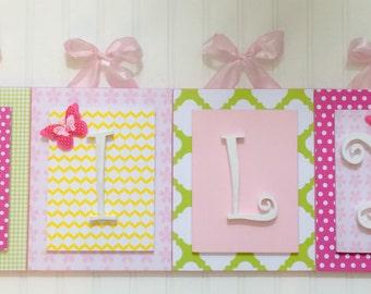 Nursery letters, Pink Nursery Letters, Butterfly Nursery, Girls Wooden Letters,Girls Bedroom Letters,Wall Letters, Hanging Wall Letters