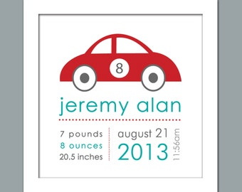 Boys Race Car Birth Announcement/Personalized Birth Print - Square Print  in sizes 10x10, 12x12, 16x16