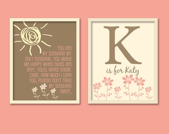 Cocalo Daniella - Set of Two - Monogram with You Are My Sunshine song/Nursery Print/Girl Nursery - 8x10