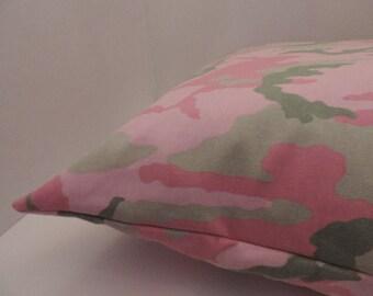 """1pink camo print pet bed cover Dog Duvet fits 1 standard sz pillow (19x25"""")  Pink green"""
