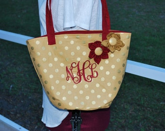 FSU Florida State University Seminoles Noles Garnet Gold Large Polka Dot Flower Tote Bag Purse With or Without Monogram