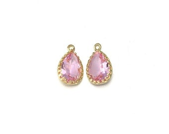 Pink Glass Pendant . Jewelry Craft Supplies . 16K Polished Gold Plated over Brass  / 2 Pcs - AG008-PG-PK