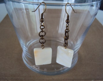 Mother of Pearl Drop Earrings with Antique Brass Findings
