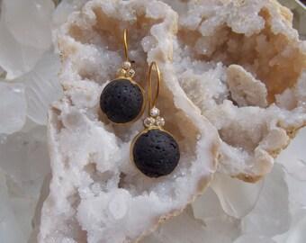 Black Basalt and Topaz Earrings