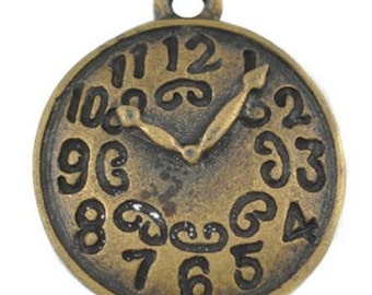10 x Antique Gold Alice in Wonderland Clock Charms Steampunk - TS111
