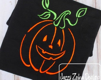 Jack - o - Lantern Satin Stitch Outline embroidery Design - pumpkin embroidery Design - halloween embroidery Design - jack o lantern