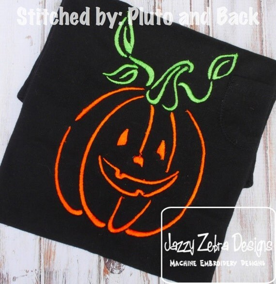 Jack - o - Lantern Satin Stitch Outline embroidery Design - pumpkin embroidery Design - halloween embroidery Design - jack o lantern