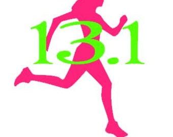 26.2 or 13.1  Marathon  Runner Figure Two Color  Vinyl  Car Decal