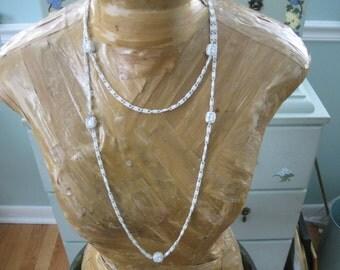 Vintage Monet Long White Enamel Necklace!