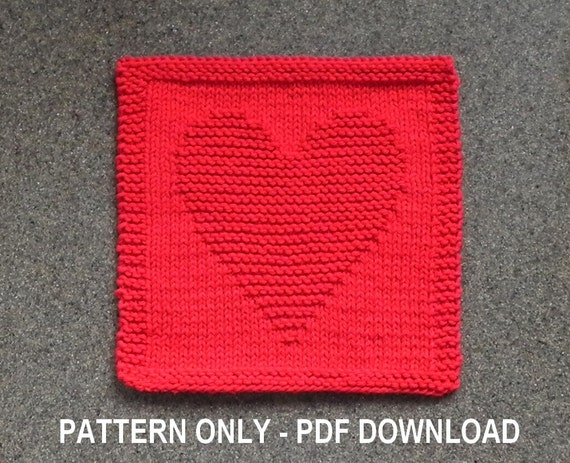 Knitted HEART Dishcloth PATTERN PDF Format Instant