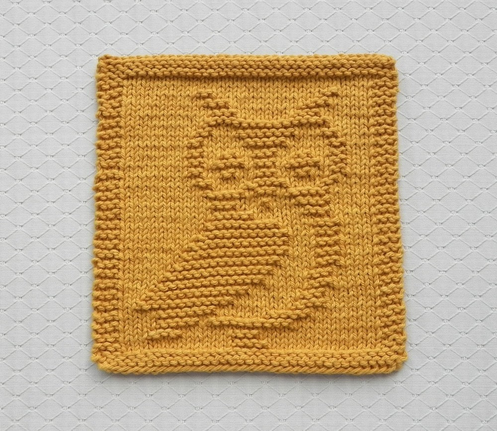 Knit Dishcloth OWL Hand Knitted Unique Design by ...