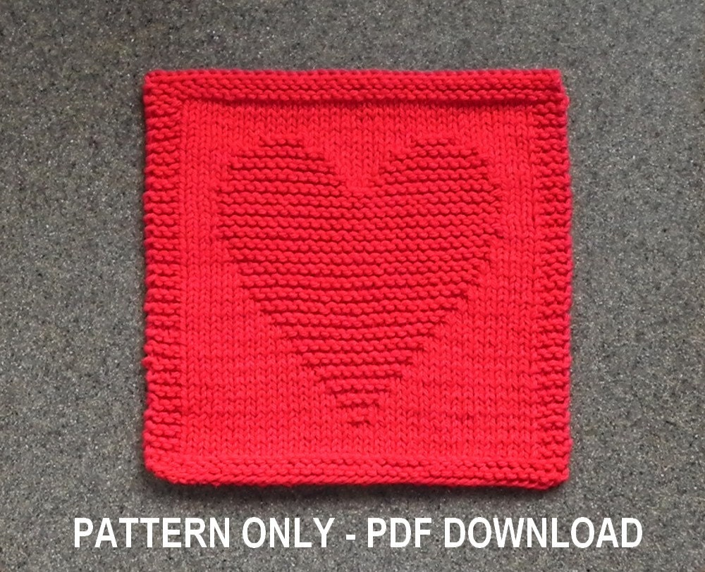Knitted Socks Patterns Free : Knitted HEART Dishcloth PATTERN PDF Format Instant