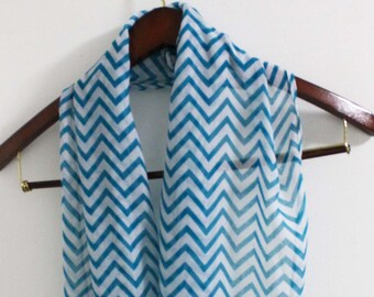 Blue Chevron and Zig Zag Infinity Scarf