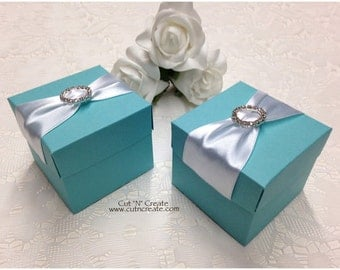 Turquoise Favor Boxes Turquoise Favors Turquoise Wedding Bling Favor Boxes Favor Box Favour Boxes Favour Box