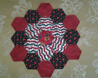 Quilted Hexagon Christmas Table Topper - Reds Greens and White Topper - Country Hearts Quilted Table Topper - Reversible Table Topper