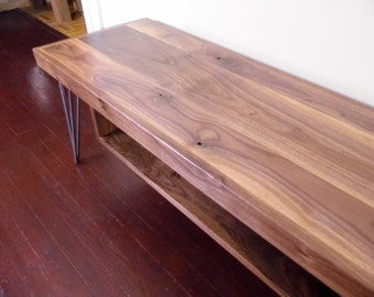 Walnut Bench with Storage Shelf, Walnut Bench with Hairpin Legs, Mid Century Modern Wood Bench, Solid Wood Walnut Bench, Danish Modern Bench