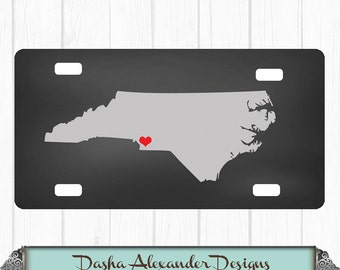 Chalkboard State License Plate - North Carolina Any color - Any State - Personalized Car License Plate -  Sweet 16 Gift for Girl - Car Tag!