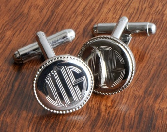 Engraved Groomsmen Gifts, Personalized Silver Round Beaded Monogram Custom Cuff Links Cufflinks Monogram Monogrammed Initials