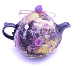 4 cup Brown Betty style teapot with handmade cozy. Wet-felted from recycled Pendleton, new roving wool and vintage buttons. Pot is Tea Time.