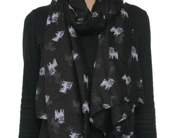 Pretty Pet Pug Dog  Animal Printed Black Scarf Shawl Wrap For  Dog Lover
