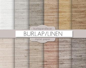 "Pattern Burlap, Burlap Canvas Linen Fabric Digital Paper Pack of 12, 12""x12"" Instant Download Pattern Paper Scrapbooking, Invites, Cards JPG"