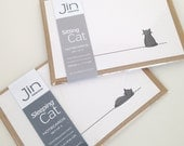 Sitting Cat and Sleeping Cat Notecards - 2 Pack