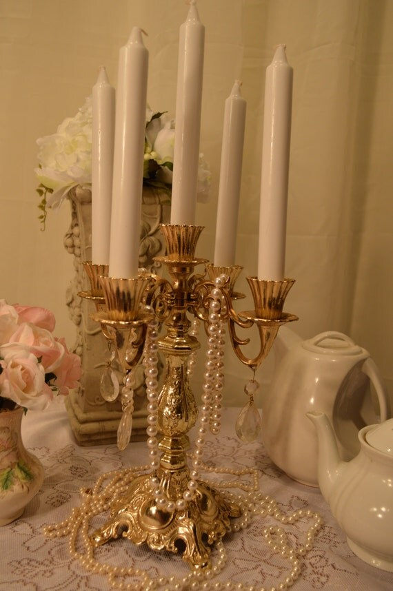 Vintage Romantic Brass Candelabra With Antique Prisms