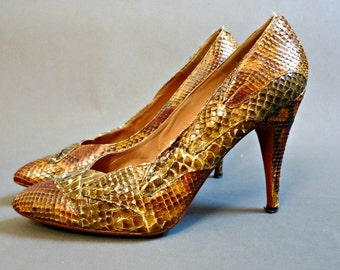 1980s ZASA Camouflage Snakeskin Abstract Heels Shoes Pumps Size 9 brown yellow