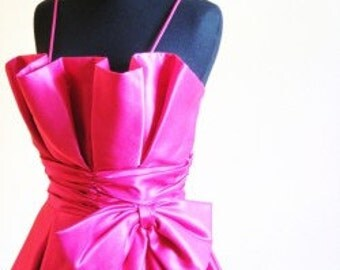 1970s PEPLUM Hot Pink PROM Dress Gown Jo Ed Sophisticates Small 2