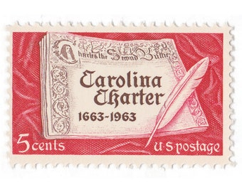 Qty of 10 - Unused 1963 Vintage Postage Stamp - Carolina Charter - No. 1230