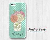 Floral Monogram Personalized iPhone 4/4s/5/5c/5s Phone Case,Custom Monogram Samsung Galaxy s3/s4/s5/note3 Cover, HTC one m7/m8 Case