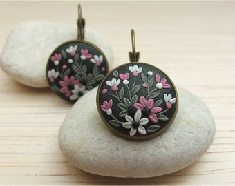 Flower Earrings, Gift Wife Statement, Polymer Clay Earrings Flower, Wife Christmas Gift