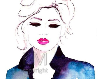 Fly Away - Fashion Illustration Watercolor Painting Print- Home decor and wall art, Fashion prints