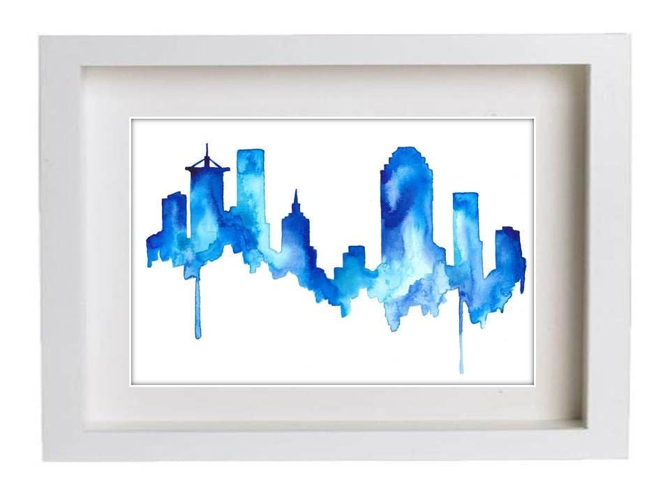 Tulsa skyline watercolor print of original art home decor for Home decor tulsa